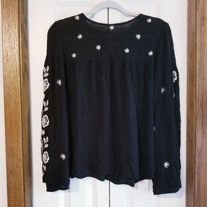 Alya black embroidered boho blouse size L